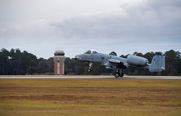 An A-10C Thunderbolt II takes off during a surge exercise, Nov. 9, 2016, at Moody Air Force Base, Ga. All of Moody's A-10's, several F-16CM Fighting Falcons from Shaw AFB's 55th Fighter Squadron and McEntire Joint National Guard's 157th Fighter Squadron, practiced interacting in a limited air space for downrange combat operations. (U.S. Air Force photo by Airman 1st Class Janiqua P. Robinson)