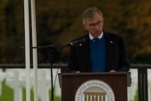 David McKean, U.S. Ambassador to the Grand Duchy of Luxembourg, speaks during a Memorial Day ceremony at the Luxembourg American Military Cemetery and Memorial in Luxembourg, Nov. 11, 2016. The ceremony paid tribute to the legacy of service of members of the American armed forces. (U.S. Air Force photo by Staff Sgt. Joe W. McFadden)
