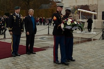 David McKean, U.S. Ambassador to the Grand Duchy of Luxembourg, center right, waits with a detail of American service members before presenting a wreath during a Memorial Day ceremony at the Luxembourg American Military Cemetery and Memorial in Luxembourg, Nov. 11, 2016. The ceremony paid tribute to the legacy of service of members of the American armed forces. (U.S. Air Force photo by Staff Sgt. Joe W. McFadden)