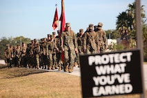 Lieutenant Gen. William D. Beydler, commander, U.S. Marine Corps Forces Central Command, leads the Marines and sailors of MARCENT on a 12-mile hike, throughout Air Force Base MacDill, to celebrate the 241st Marine Corps Birthday, Nov. 10.