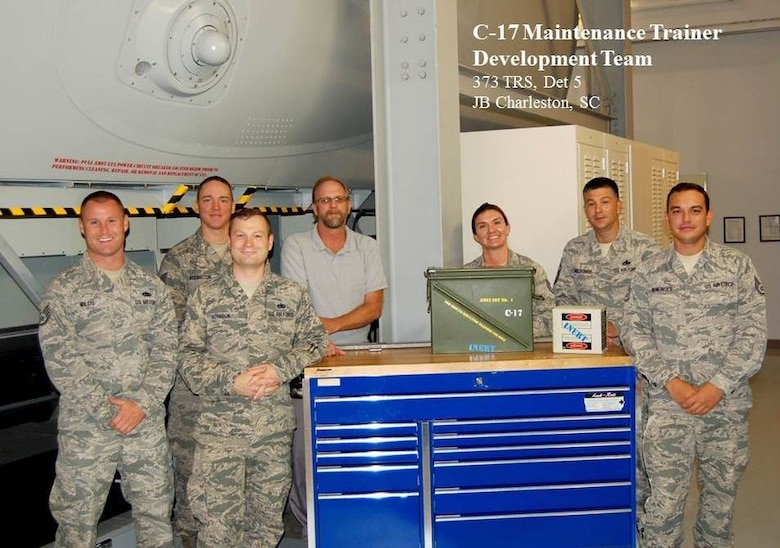 The 373rd Training Squadron, Detachment 5, C-17 Maintenance Trainer Development Team's mission is to train the C-17 aircraft maintenance community by integrating the highest caliber instructors and applying modern technology to develop the ultimate warfighter who delivers global mobility. Det 5 is located out of Joint Base Charleston, South Carolina. (U.S. Air Force courtesy photo)