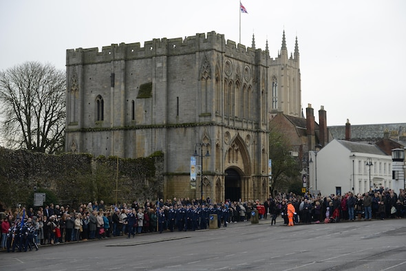 U.S. Air Force Airmen march along Angel Hill during a wreath-laying ceremony Nov. 13, 2016, in Bury St. Edmunds, England. Remembrance Sunday was originally named Armistice Day after World War I, which ended at the 11th hour on the 11th day of the 11th month in 1918. The day was changed to Remembrance Sunday after World War II to honor all of the men and women who died serving their country. (U.S. Air Force photo by Staff Sgt. Richard Ware)