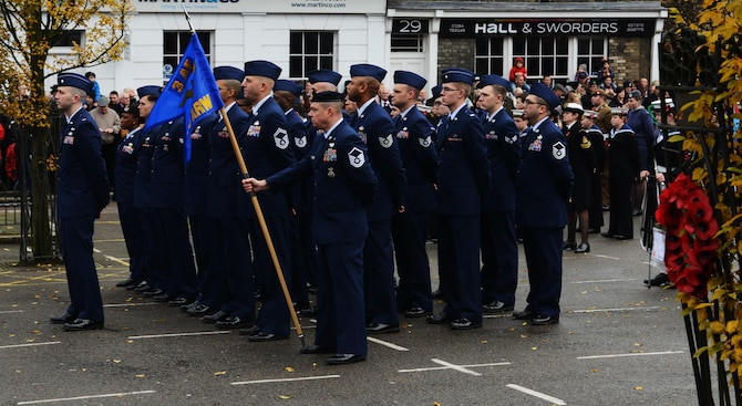 U.S. Air Force Airmen participate in a wreath laying ceremony Nov. 13, 2016, in Bury St. Edmunds, England. Remembrance Sunday was originally named Armistice Day after World War I, which ended at the 11th hour on the 11th day of the 11th month in 1918. The day was changed to Remembrance Sunday after World War II to honor all of the men and women who died serving their country. (U.S. Air Force photo by Staff Sgt. Richard Ware)