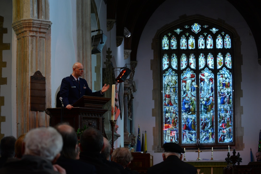 U.S. Air Force Chaplain (Capt.) Joseph Wright, 100th Air Refueling Wing, speaks to the audience during a Remembrance Sunday service Nov. 13, 2016, at All Saints Church in Dickleburgh, England. Airmen from RAF Mildenhall, England, participated in ceremonies and services throughout the local area to honor those who died during previous and current conflicts.  (U.S. Air Force photo by Staff Sgt. Micaiah Anthony)