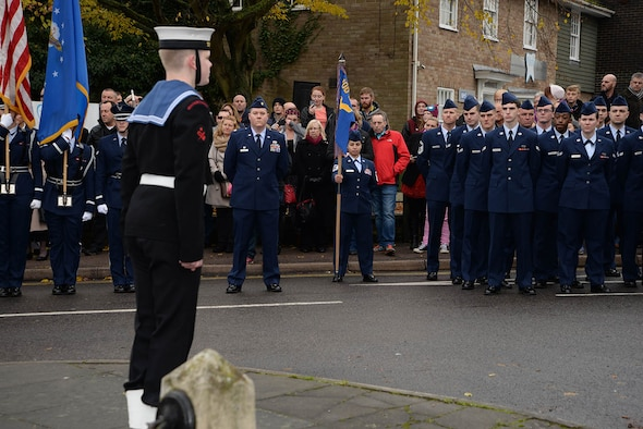 U.S. Air Force Airmen from RAF Mildenhall stand alongside Sea Cadets, Army Cadets, Air Cadets, Royal British Legion veterans and many other groups from the local community during the Remembrance Sunday parade Nov. 13, 2016, in Mildenhall, England. Remembrance ceremonies are held around the UK each year on the closest Sunday to Armistice Day, Nov. 11, to honor those who lost their lives in wars both past and present. (U.S. Air Force photo by Karen Abeyasekere)