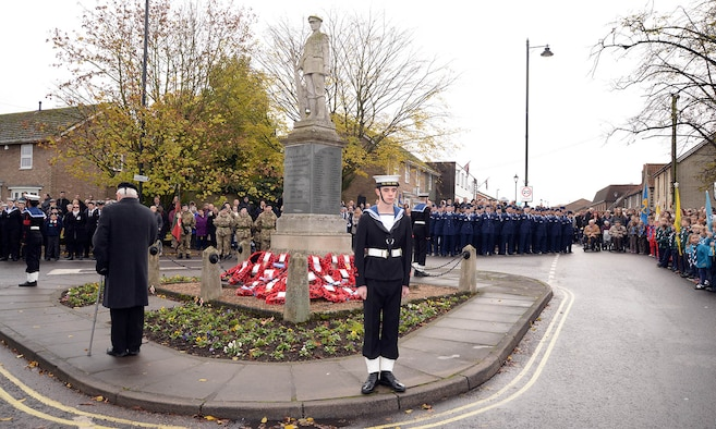 U.S. Air Force Airmen from RAF Mildenhall stand alongside Sea Cadets, Army Cadets, Air Cadets, Royal British Legion veterans and many other groups from the local community during the Remembrance Sunday parade Nov. 13, 2016, in Mildenhall, England. Remembrance Sunday was originally named Armistice Day after World War I, which ended at the 11th hour on the 11th day of the 11th month in 1918. It was then renamed Remembrance Sunday after World War II and now honors all the men and women who died serving their country in wars past and present. (U.S. Air Force photo by Karen Abeyasekere)