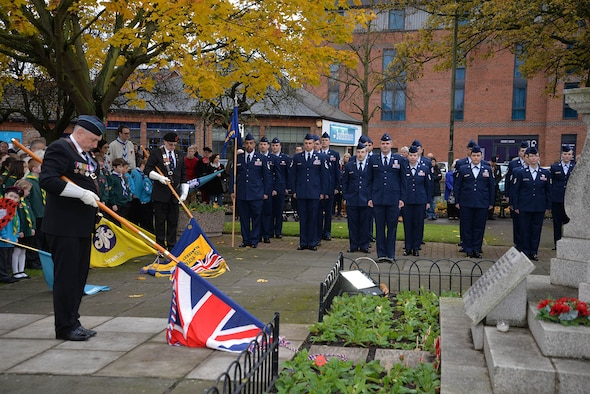 U.S. Air Force Airmen from RAF Mildenhall stand alongside Royal British Legion veterans, Sea Cadets, Army Cadets, Air Cadets and many other groups from the local community during the Remembrance Sunday parade Nov. 13, 2016, in Newmarket, England. Airmen from RAF Mildenhall participated in ceremonies and services throughout the local area to honor those who lost their lives in past and present conflicts. (U.S. Air Force photo by Karen Abeyasekere)