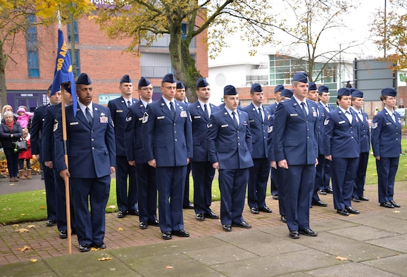U.S. Air Force Airmen from RAF Mildenhall stand at attention during a Remembrance Sunday ceremony Nov. 13, 2016, in Newmarket, England. Team Mildenhall Airmen participated in ceremonies and services throughout the local area to honor those who lost their lives in both current and past wars. (U.S. Air Force photo by Karen Abeyasekere)