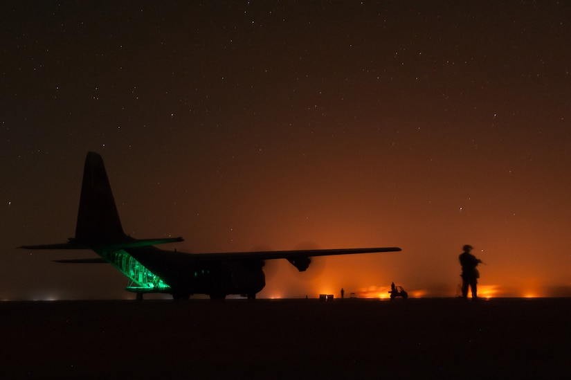 Airmen assigned to the 821st Contingency Response Group perform a variety of airfield operation duties at Qyarrayah West airfield, Oct. 28, 2016. The 821st CRG is highly-specialized in training and rapidly deploying personnel to quickly open airfields and establish, expand, sustain and coordinate air mobility operations. (U.S. Air Force by photo Staff Sgt. Adam Kern)