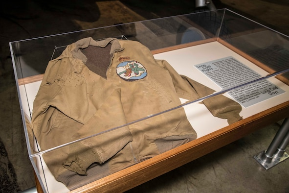 DAYTON, Ohio - 2nd Lt. John Carroll of the 55th Fighter Group was wearing this jacket when he was shot down over Holland on Nov. 23, 1943. This item is on display near the Lockheed P-38L Lightning in the WWII Gallery. (U.S. Air Force photo by Ken LaRock)