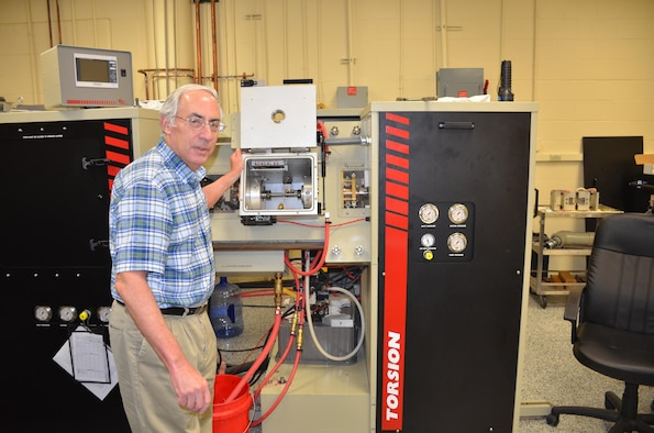 Dr. Sheldon (Lee) Semiatin, senior scientist, Materials and Manufacturing Directorate, Air Force Research Laboratory, uses a Gleeble machine for thermomechanical processing of aerospace alloys. This machine aids projects that require solid state joining of nickel-based superalloys.