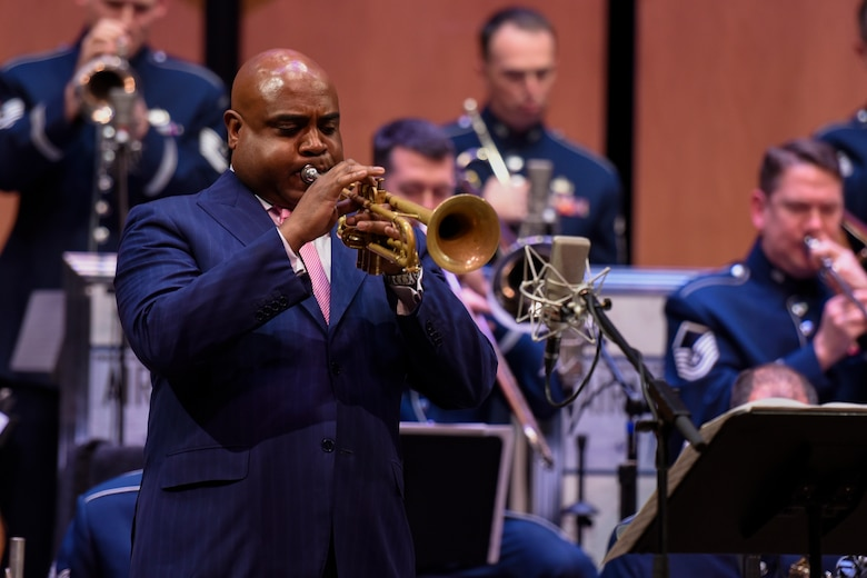 Terell Stanfford, jazz trumpeter, performs with the Airmen of Note in the Jazz Heritage Series at the Rachel M. Schlesinger Concert Hall in Alexandria, Va., Nov. 11, 2016. Terell Stafford has been nominated for several Grammys and is a professional in the art of jazz. The Airmen of Note and iconic jazz artists have been performing in the series since 1990. (U.S. Air Force photo by Airman 1st Class Valentina Lopez)