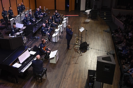 "Terell Stanfford, jazz trumpeter, and the Airmen of Note, Air Force Band jazz ensemble, perform for the Jazz Heritage Series at the Rachel M. Schlesinger Concert Hall in Alexandria, Va., Nov. 11, 2016. The series was established in 1990 by the Airmen of Note. Every year the ""Note"" is featured in concert with legendary jazz artists. (U.S. Air Force photo by Airman 1st Class Valentina Lopez)"