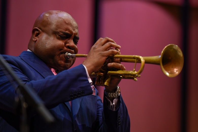 Terell Stanfford, jazz trumpeter, plays in the Jazz Heritage Series at the Rachel M. Schlesinger Concert Hall in Alexandria, Va., Nov. 11, 2016. Terell Stafford has been nominated for several Grammys. Every year the series features the Airmen of Note in concert alongside renowned jazz artists. (U.S. Air Force photo by Airman 1st Class Valentina Lopez)