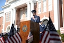 Col. Douglas Gosney, 14th Flying Training Wing Commander, speaks at the 2016 Columbus Veterans Day Wreath-Laying Ceremony Nov. 12, 2016, at the Lowndes County Court House in Columbus, Mississippi. Goseny spoke about what it truly means to be a veteran, the sacrifices they make and highlighted a few veterans from Columbus Air Force Base, Mississippi. (U.S. Air Force photo by Airman 1st Class John Day)