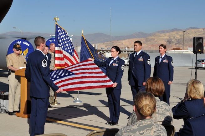 The Utah Air National Guard hosted a Community Nursing Services Honor Salute for retired Chief Master Sgt. Harry August on Nov. 9, 2016 at Roland R. Wright Air National Guard Base. August, a World War II, Korean and Vietnam War veteran, was presented with a flag, as well as certificates, a book and pin in honor of his service. (U.S. Air National Guard photo by Staff Sgt. Annie Edwards)