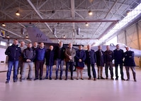 31st Fighter Wing leaders and Italian mayors from the local community pose for a photo during Mayor's Day at Aviano Air Base, Italy on Nov. 11, 2016. The tour was hosted to introduce local community leaders to the 31st Fighter Wing mission. (U.S. Air Force photo by Senior Airman Areca T. Bell)