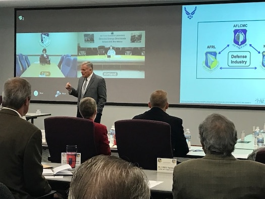 AFIT director and chancellor Dr. Todd Stewart, provides remarks at the AFRL-AFIT summit on Nov. 8, 2016. Approximately 50 attendees were briefed on the current collaborations and plans between AFRL and AFIT.