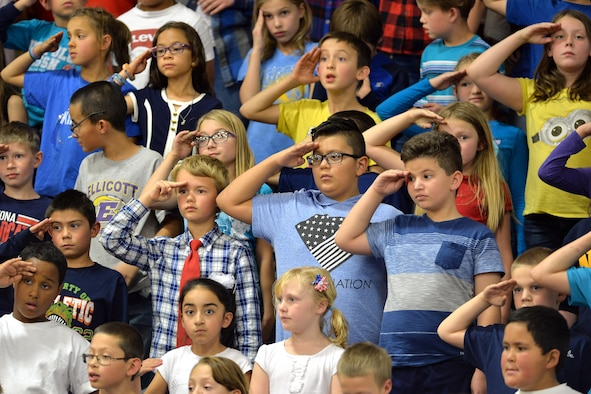 Students render a salute to the veterans during the annual Veterans Day ceremony at Ellicott, Colorado, Thursday, Nov. 10, 2016.  Nearly every student in the district has a family member who has served, or is currently serving, in the armed forces. (U.S. Air Force Photo/Dennis Rogers)