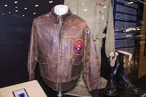 """DAYTON, Ohio -- """"Tenacity over Bougainville: Zeamer and the """"Eager Beavers"""" display in the World War II Gallery at the National Museum of the U.S. Air Force. (U.S. Air Force photo by Ken LaRock)"""