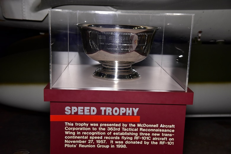 This trophy was presented by the McDonnell Aircraft Corp. to the 363rd Tactical Reconnaissance Wing in recognition of establishing three new transcontinental speed records flying RF-101C aircraft on Nov. 27, 1957. It was donated to the museum by the RF-101 Pilots' Reunion Group in 1998. (U.S. Air Force photo)