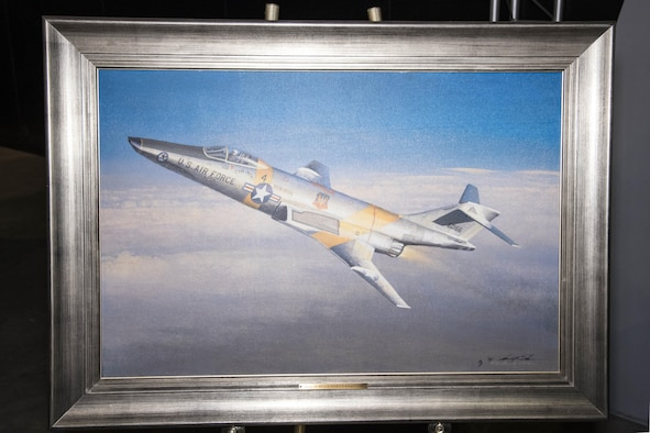 "DAYTON, Ohio - A giclee of ""Schrek's CIN MIN on the SUN-RUN"" by aviation artist William S. Phillips in the Southeast Asia War Gallery at the National Museum of the U.S. Air Force. (U.S. Air Force photo)"