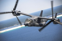 The CV-22 Osprey is a tilt-rotor aircraft that combines the vertical takeoff, hover and vertical landing qualities of a helicopter with the long-range, fuel efficiency and speed characteristics of a turboprop aircraft. Its mission is to conduct long-range infiltration, ex-filtration and resupply missions for special operations forces. (U.S. Air Force photo)