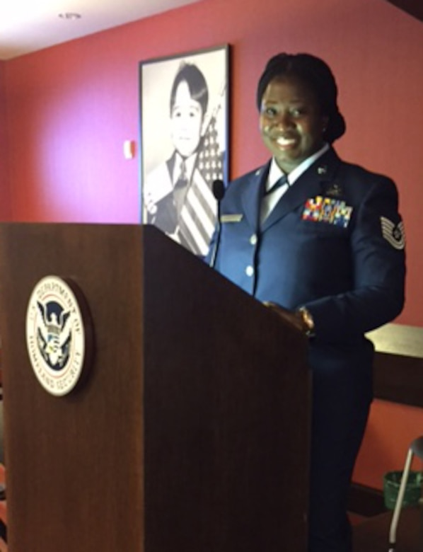To commemorate Veteran's Day, Air Force Reservist Tech. Sgt. Angela Borders, 920th Force Support Squadron, Patrick Air Force Base, Florida, led a U.S. Citizenship and Immigration Services Ceremony November 8, 2016, where she works as an Immigration Services Officer in Orlando when she's not serving the country. (Courtesy photo)
