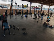 The 27th Special Operations Civil Engineer Squadron Explosive Ordnance Disposal flight and base participants complete the 3rd annual EOD 132 workout Nov. 10, 2016 at Cannon Air Force Base, N.M.. This annual workout is in honor of the 132 EOD technicians who have passed away since the 9/11 tragedy. (U.S. Air Force photo by Staff Sgt. Eboni Reams/Released)