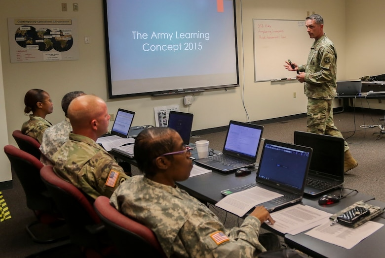 Sgt. 1st Class Kevin Hiles, of the 94th Training Division, teaches a class during the 80th Training Command's 2016 Instructor of the Year competition at Fort Knox, Ky., Oct. 22, 2016. Hiles won the Noncommissioned Officer IOY. Photo taken by Spc. Sarah Ruiz, 55th Signal Company (Combat Camera).