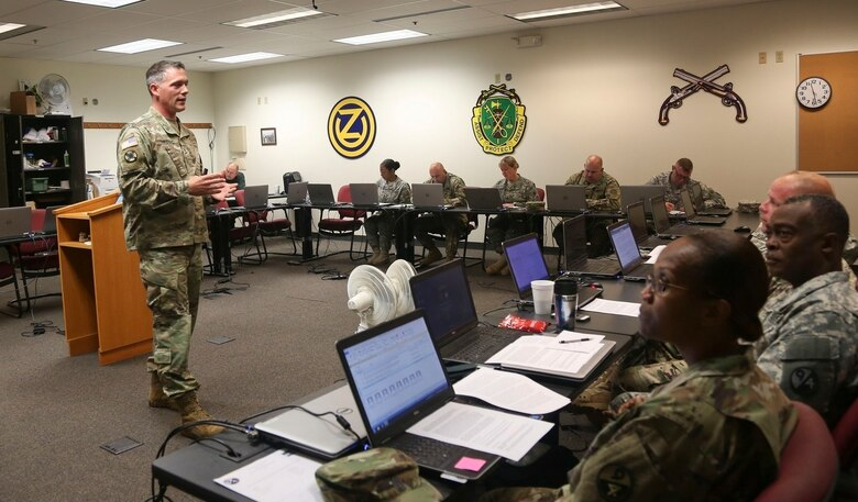 Sgt. 1st Class Kevin Hiles, of the 94th Training Division, teaches a class as part of the 80th Training Command's 2016 Instructor of the Year competition at Fort Knox, Ky., Oct. 22, 2016. Hiles won the Noncommissioned Officer IOY award. Photo taken by Spc. Sarah Ruiz, 55th Signal Company (Combat Camera).