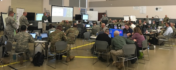 Soldiers assigned to Army North along with civilians working for the Federal Emergency Management Agency, or FEMA, and other Oregon state agencies conduct scenario based crises management training at the Oregon National Guard center in Clackamas, outside of Portland, Ore., Oct. 30-Nov. 4.