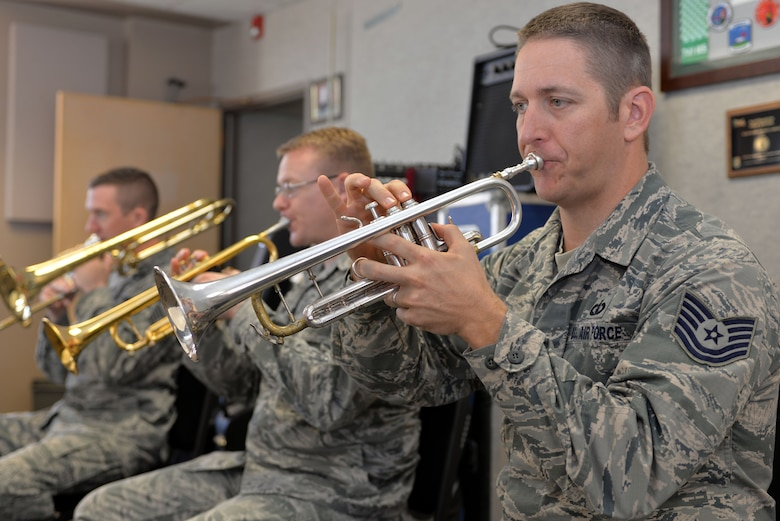 Heartland of America Band members (from right to left) Tech. Sgt. Carl Eitzen, Staff Sgt. Daniel Thrower, and Master Sgt. Ben Kadow rehearse Nov. 15, 2016 at Offutt Air Force Base in preparation for the band's upcoming holiday concert series. The 16-piece band is scheduled to conduct four free holiday-themed performances in the local community starting Dec. 10 and ending Dec. 18, 2016.The series will kick-off with a performance Dec. 10 at 2 p.m. at the Glenwood Community High School Performing Arts Center in Glenwood, Iowa and is presented in partnership with the Glenwood-Opinion Tribune and the Glenwood Community School District. The band will perform again Dec. 16 at 7:30 p.m.; Dec. 17 at 7:30 p.m. and Dec. 18 at 2 p.m. at Bellevue East High School in Bellevue, Nebraska in the school's auditorium and is presented in partnership with Suburban Newspapers. Information on how to get tickets for these free concerts will be posted soon on the band's website (www.heartlandofamericaband.af.mil) and Facebook page (search for USAF Heartland of America Band) as well as in ads in the Omaha World-Herald, Bellevue Leader and Glenwood Opinion-Tribune newspapers.