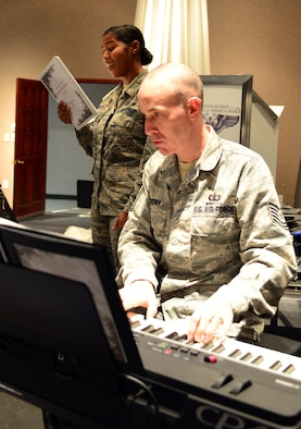 Heartland of America Band members Tech. Sgt. Marshall Gentry and Senior Airman Sierra Bailey rehearse Nov. 15, 2016 at Offutt Air Force Base in preparation for the band's upcoming holiday concert series. The 16-piece band is scheduled to conduct four free holiday-themed performances in the local community starting Dec. 10 and ending Dec. 18, 2016.The series will kick-off with a performance Dec. 10 at 2 p.m. at the Glenwood Community High School Performing Arts Center in Glenwood, Iowa and is presented in partnership with the Glenwood-Opinion Tribune and the Glenwood Community School District. The band will perform again Dec. 16 at 7:30 p.m.; Dec. 17 at 7:30 p.m. and Dec. 18 at 2 p.m. at Bellevue East High School in Bellevue, Nebraska in the school's auditorium and is presented in partnership with Suburban Newspapers. Information on how to get tickets for these free concerts will be posted soon on the band's website (www.heartlandofamericaband.af.mil) and Facebook page (search for USAF Heartland of America Band) as well as in ads in the Omaha World-Herald, Bellevue Leader and Glenwood Opinion-Tribune newspapers.