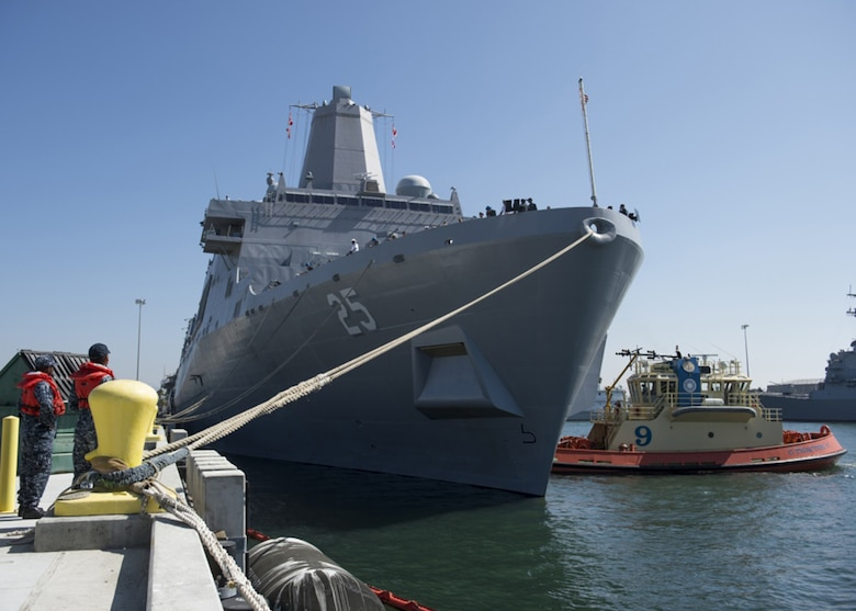 Line handlers assigned to Naval Station San Diego wait to release the mooring lines of the amphibious transport dock ship USS Somerset (LPD 25), as it prepares to depart for a scheduled deployment. Somerset is a part of the Makin Island Amphibious Ready Group, which will serve in the U.S. 3rd, 5th, and 7th Fleet area of operation, providing maritime security operations, crisis response capability, theater security cooperation and forward naval presence.