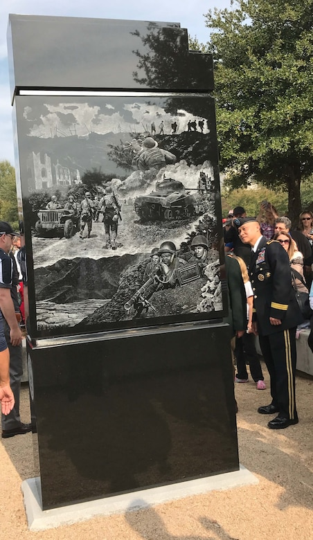 Brig. Gen. Viet X. Luong, U.S. Army Central chief of staff, observes the newly unveiled U.S. Army monument at the Florence Veteran's Day ceremony Nov. 11, at the Florence, S.C., Veterans Park. The monument is the last of five monuments dedicated to the five branches of the U.S. armed forces.
