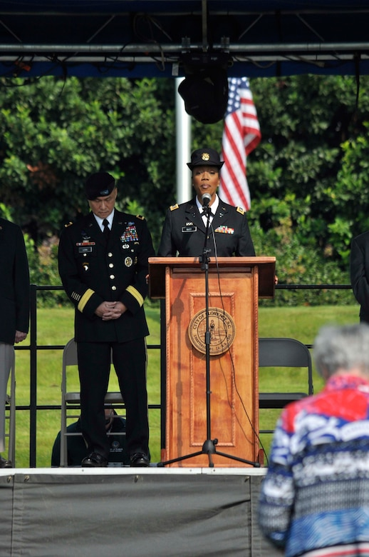 Capt. Kristal McKoy, chaplain for South Carolina Army National Guard's 51st Military Police Battalion, gives the invocation during the Florence Veterans Day Ceremony Nov. 11, at the Florence Veterans Park in South Carolina.