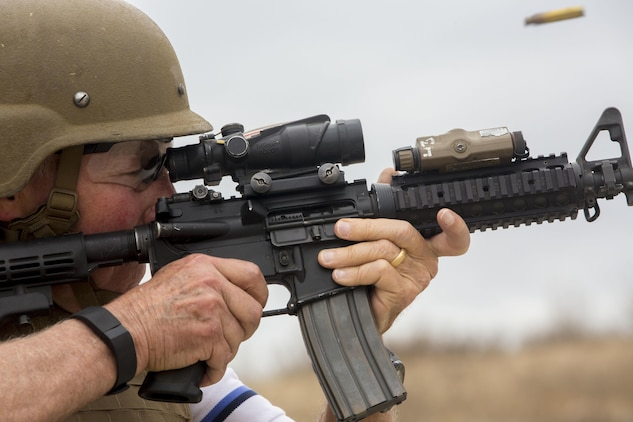 Retired Maj. Gen. James Myatt, now the president and CEO of the Marines' Memorial Association, fires an M4A1 carbine during a shooting drill aboard Marine Corps Base Camp Pendleton, Calif., Sept. 19, 2016. Started in 1946, the MMA honors the sacrifices of members of the armed forces. (U.S. Marine Corps photo by Lance Cpl. Bradley J. Morrow)
