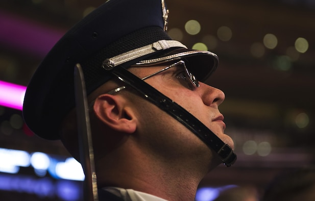 Master Sgt. Jason Evans, U.S. Air Force Honor Guard Drill Team drill superintendent, awaits halftime of the New York Knicks game at Madison Square Garden in New York, Nov. 9, 2016. This was the first time Evans had performed at Madison Square Garden with the drill team. (U.S. Air Force photo by Senior Airman Philip Bryant)