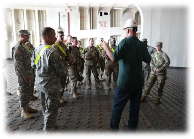 Members of the 525th Military Intelligence Brigade tour the Maritime Administration vessel, CAPE Decision, during a tactical exercise held Nov. 2, 2016 at Joint Base Charleston, S.C. Ninety company grade officers and NCO's traveled from Ft. Bragg, N.C. to participate in the exercise.