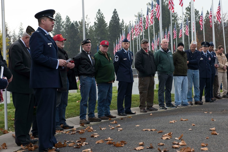 Col. Matthew Fritz, 92nd Air Refueling Wing vice commander, speaks during a Veterans Day event Nov. 11, 2016, at Fort George Wright Cemetery, Spokane. Team Fairchild Airmen, along with local community members, honored current and past veterans for their service and dedication to the United States. (U.S. Air Force photo/Senior Airman Nick J. Daniello)