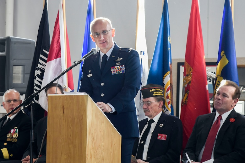 Col. Ryan Samuelson, 92nd Air Refueling Wing commander, speaks during a Veterans Day event Nov. 11, 2016 at Felts Field Honor Point Museum, Spokane. The event was to honor all veterans and included speeches from the Honorable David Condon, Mayor of Spokane, and the keynote speaker Rear Adm. Doug Asbjornsen, U.S. Naval Air Reserve. This was the first year the event was held at the new Honor Point Museum and had more than 600 people in attendance. (U.S. Air Force photo/Airman 1st Class Taylor Shelton)