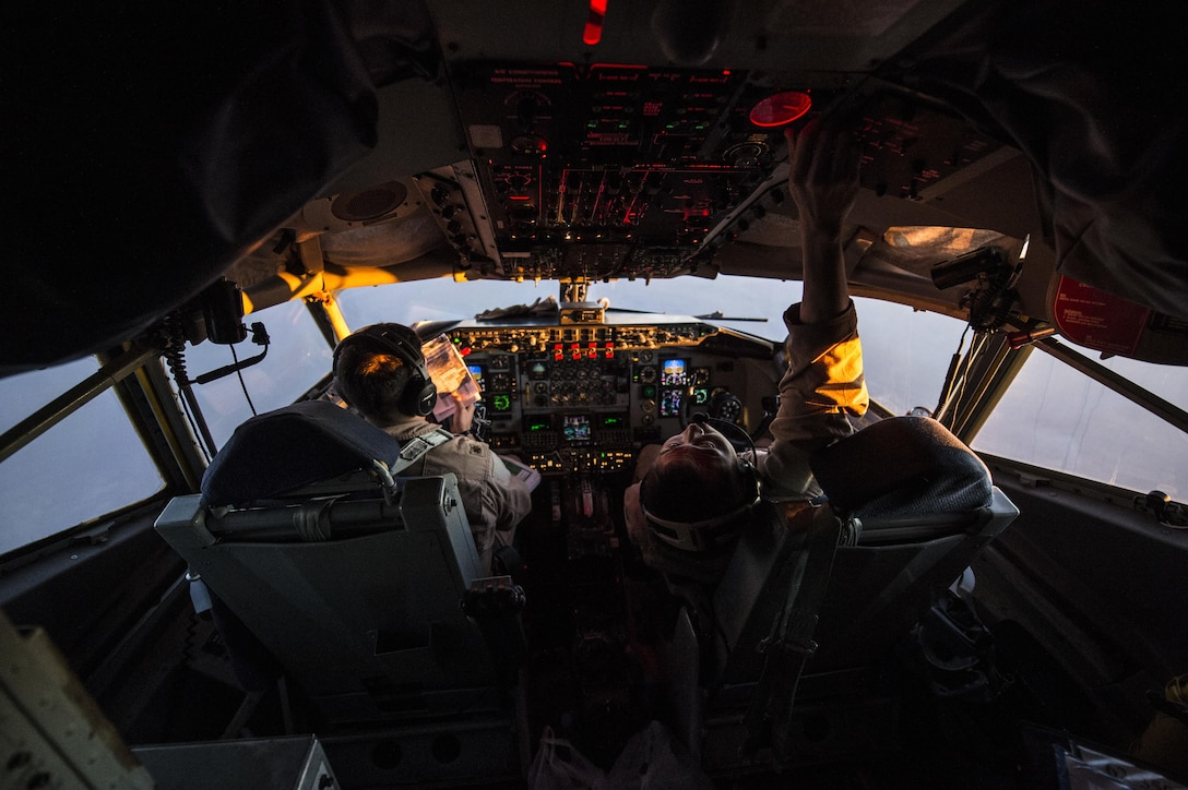 Air Force Maj. Steve Briones and 1st Lt. Andrew Kim fly a KC-135 Stratotanker over Turkey, Jan. 6, 2016. Coalition forces fly daily missions to support Operation Inherent Resolve. Air Force photo by Staff Sgt. Corey Hook