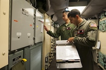 Second Lt. Nikolas Ramos, 320th Missile Squadron deputy missile combat crew commander, reads a checklist while 1st Lt. Terrence Dale Duarte, missile combat crew commander complies with the instructions in a launch control center at F.E. Warren Air Force Base, Wyo., Nov. 5, 2016. The 90th Missile Wing sustains 150 Minuteman III ICBMs and the associated launch facilities that cover 9,600 square miles across three states. (U.S. Air Force photo by Staff Sgt. Christopher Ruano)
