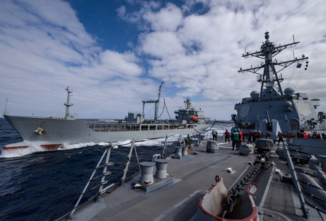 Arleigh Burke-class guided-missile destroyer USS Sampson (DDG 102), right, conducts a replenishment-at-sea with Her Majesty's New Zealand Ship Endeavour (A11), Nov. 13, 2016. Sampson will report to U.S. Third Fleet, Headquartered in San Diego, while deployed to the Western Pacific as part of the U.S. Pacific Fleet-led initiative to extend the command and control functions of Third Fleet into the region.