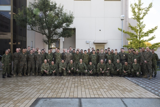 U.S. Marines and Japan Ground Self Defense Force members executed exercise Active Shield at Marine Corps Air Station Iwakuni, Japan, Nov. 11, 2016. Active Shield is an annual exercise designed to test the abilities of U.S. and Japanese forces to work alongside each other to protect and defend Marine Corps Air Station Iwakuni and other U.S. assets in the region. (U.S. Marine Corps photo by Lance Cpl. Joseph Abrego)