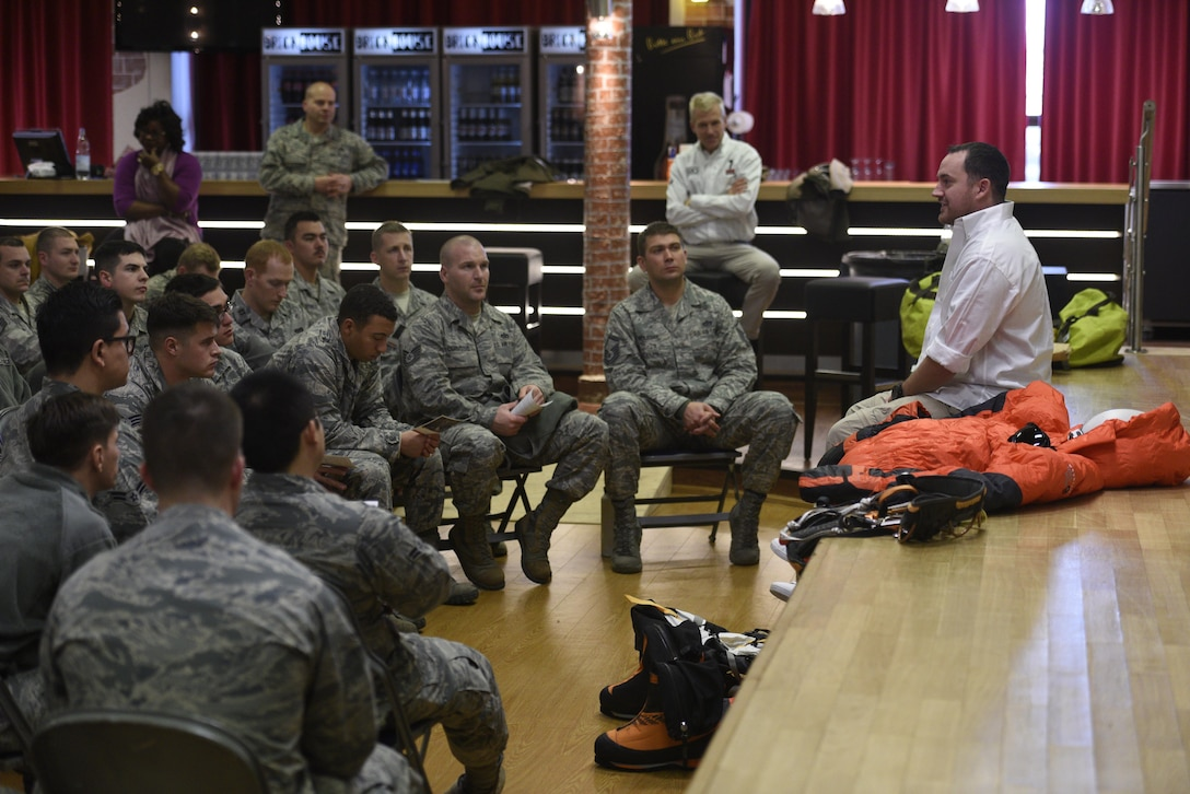 Benjamin Breckheimer, a former U.S. Army Staff Sgt., speaks to Airmen about personal resiliency at the Brick House on Spangdahlem Air Base, Germany, Nov. 10, 2016. Breackheimer received damage to his body following an improvised explosive device explosion while deployed to Afghanistan. (U.S. Air Force photo by Staff Sgt. Jonathan Snyder)