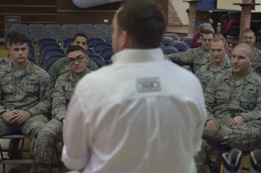 Benjamin Breckheimer, a former U.S. Army Staff Sgt., speaks to Airmen about personal resiliency at the Brick House on Spangdahlem Air Base, Germany, Nov. 10, 2016. Breackheimer spoke about the importance of resiliency and his successful summit of Mount Elbrus following years of physical therapy. (U.S. Air Force photo by Staff Sgt. Jonathan Snyder)