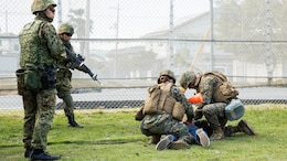 U.S. Marines and Japan Ground Self Defense Force members executed exercise Active Shield at Marine Corps Air Station Iwakuni, Japan, Nov. 9, 2016. Active Shield is an annual exercise designed to test the abilities of U.S. and Japanese forces to work alongside each other to protect and defend Marine Corps Air Station Iwakuni and other U.S. assets in the region.
