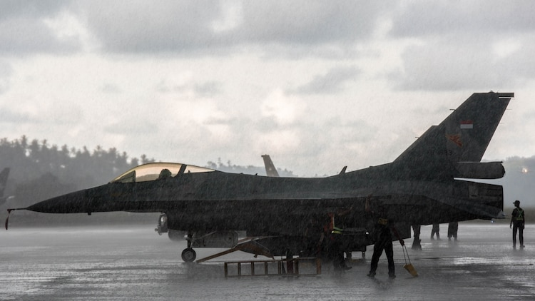 An Indonesian Air Force F-16 Fighting Falcon sits on the flight line during exercise Cope West 17 at Sam Ratulangi International Airport, Indonesia, Nov. 10, 2016. First conducted in 1989, Cope West is a Pacific Air Force lead exercise, normally focusing on airlift, air-land and air drop delivery operation techniques. Cope West 17 is the first-fighter focused exercise in Indonesia in 19 years involving the U.S. Military and the Indonesian Air Force.